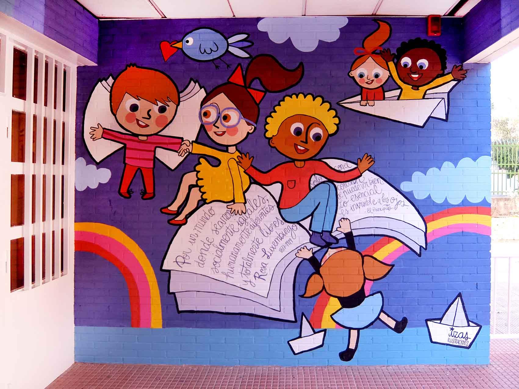 mural izas rosa luxemburgo robótica y biblioteca 2