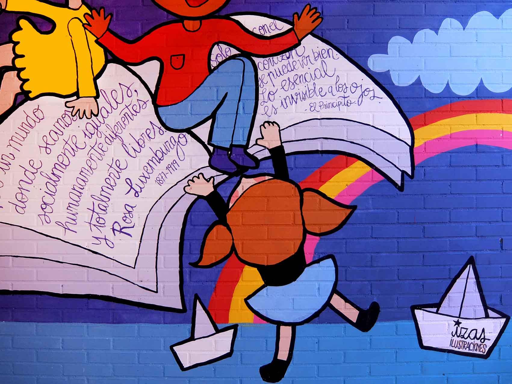 mural izas rosa luxemburgo robótica y biblioteca 4