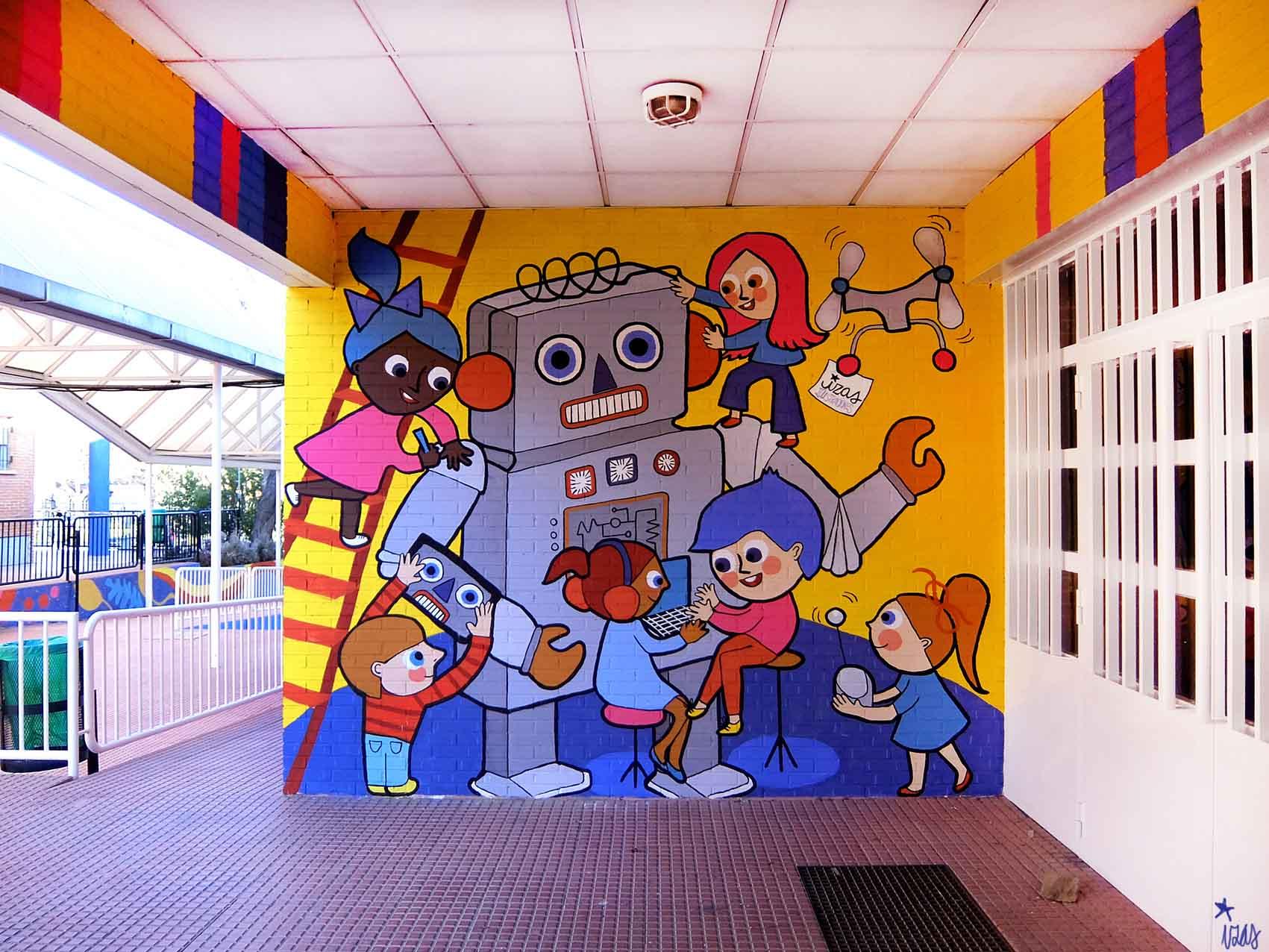 mural izas rosa luxemburgo robótica y biblioteca 7