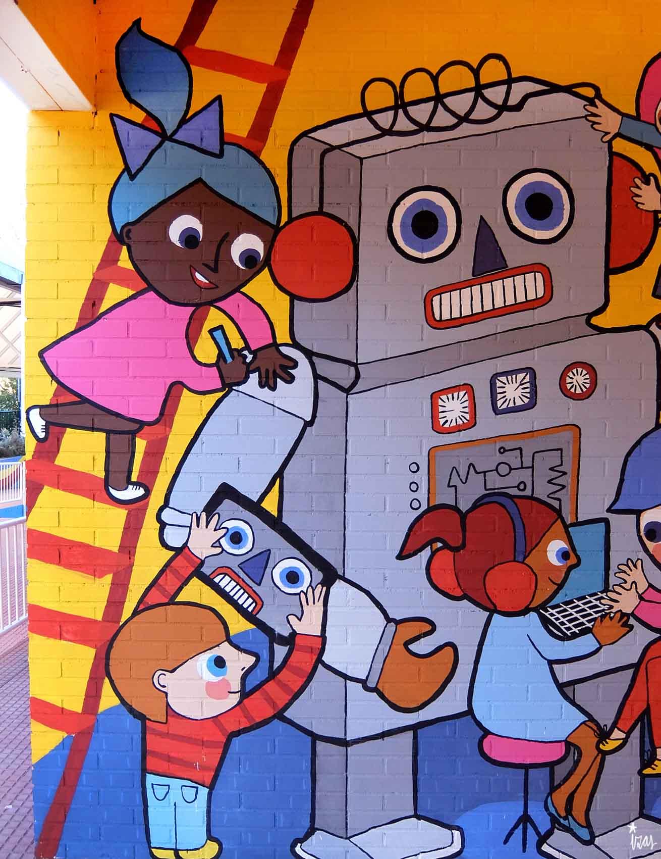 mural izas rosa luxemburgo robótica y biblioteca 8
