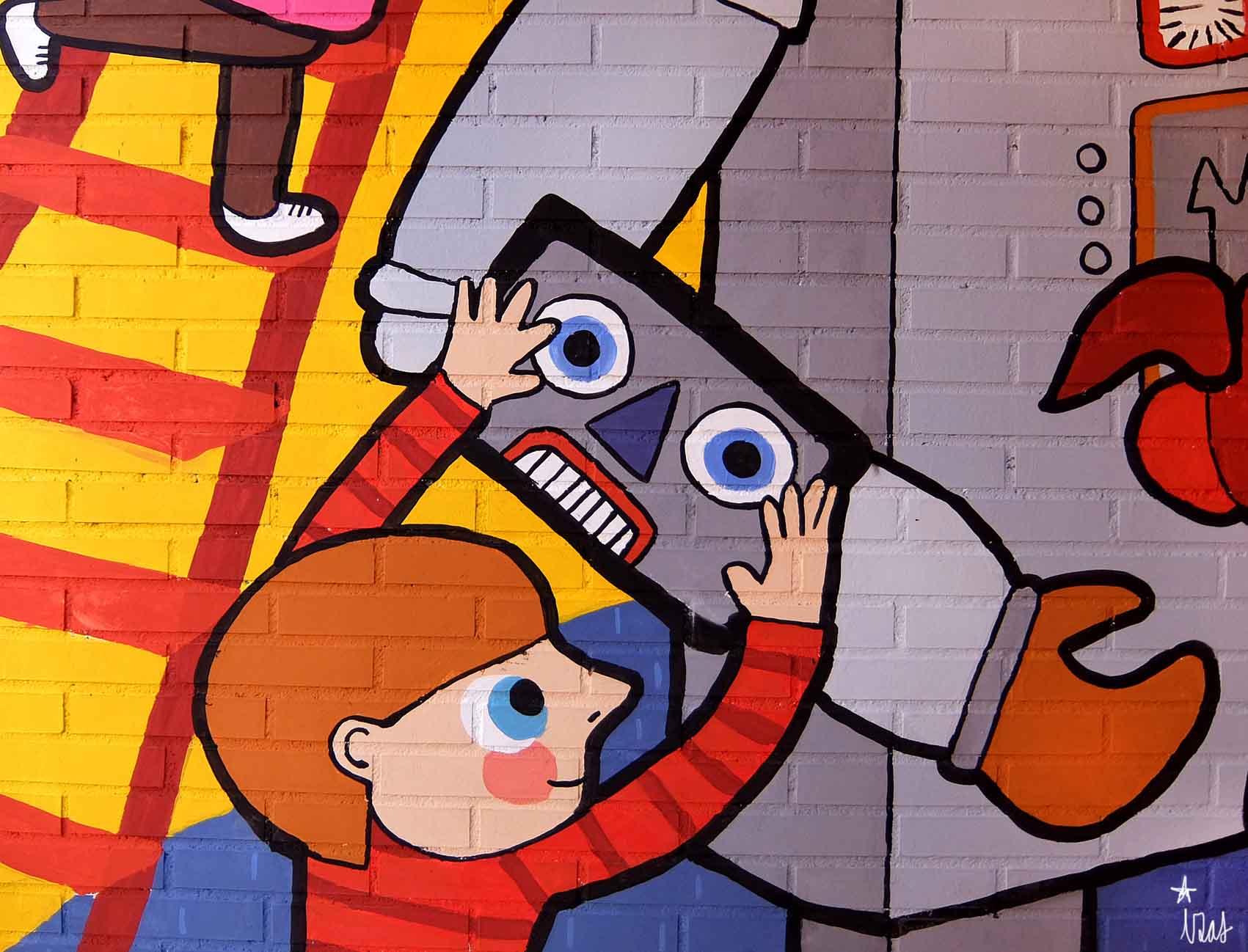 mural izas rosa luxemburgo robótica y biblioteca 9