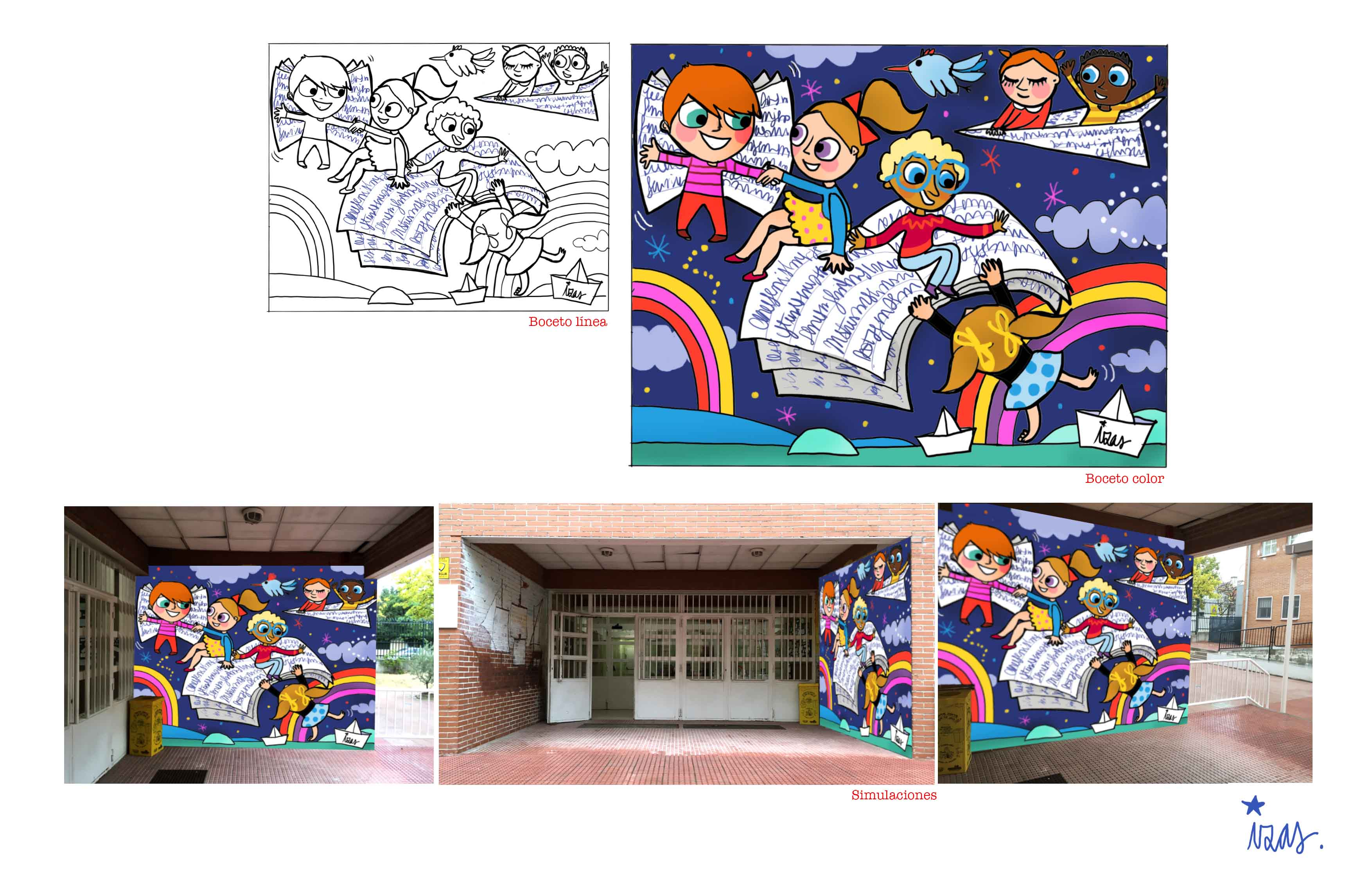 mural izas rosa luxemburgo robótica y biblioteca proyecto 1
