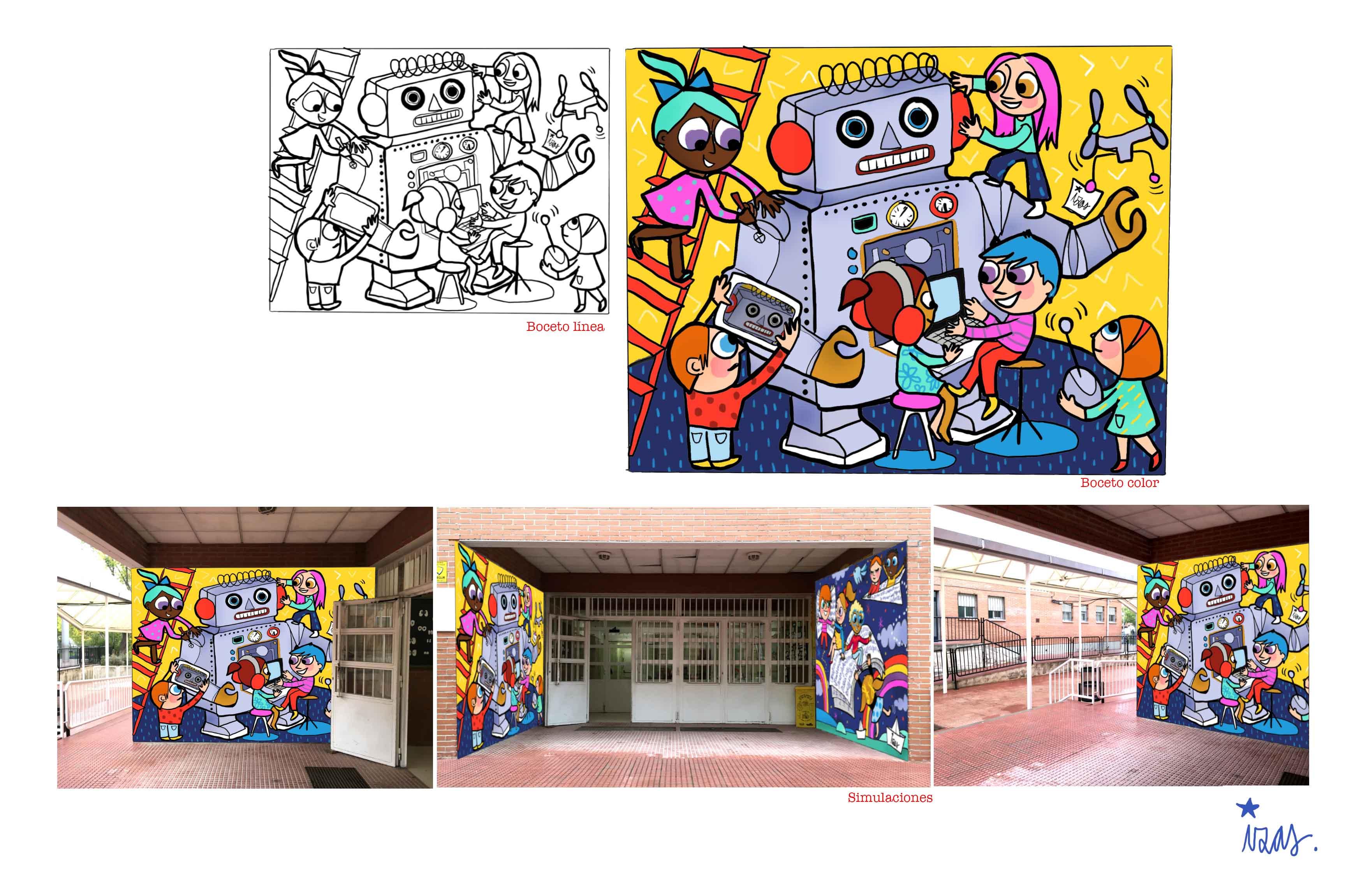 mural izas rosa luxemburgo robótica y biblioteca proyecto 2