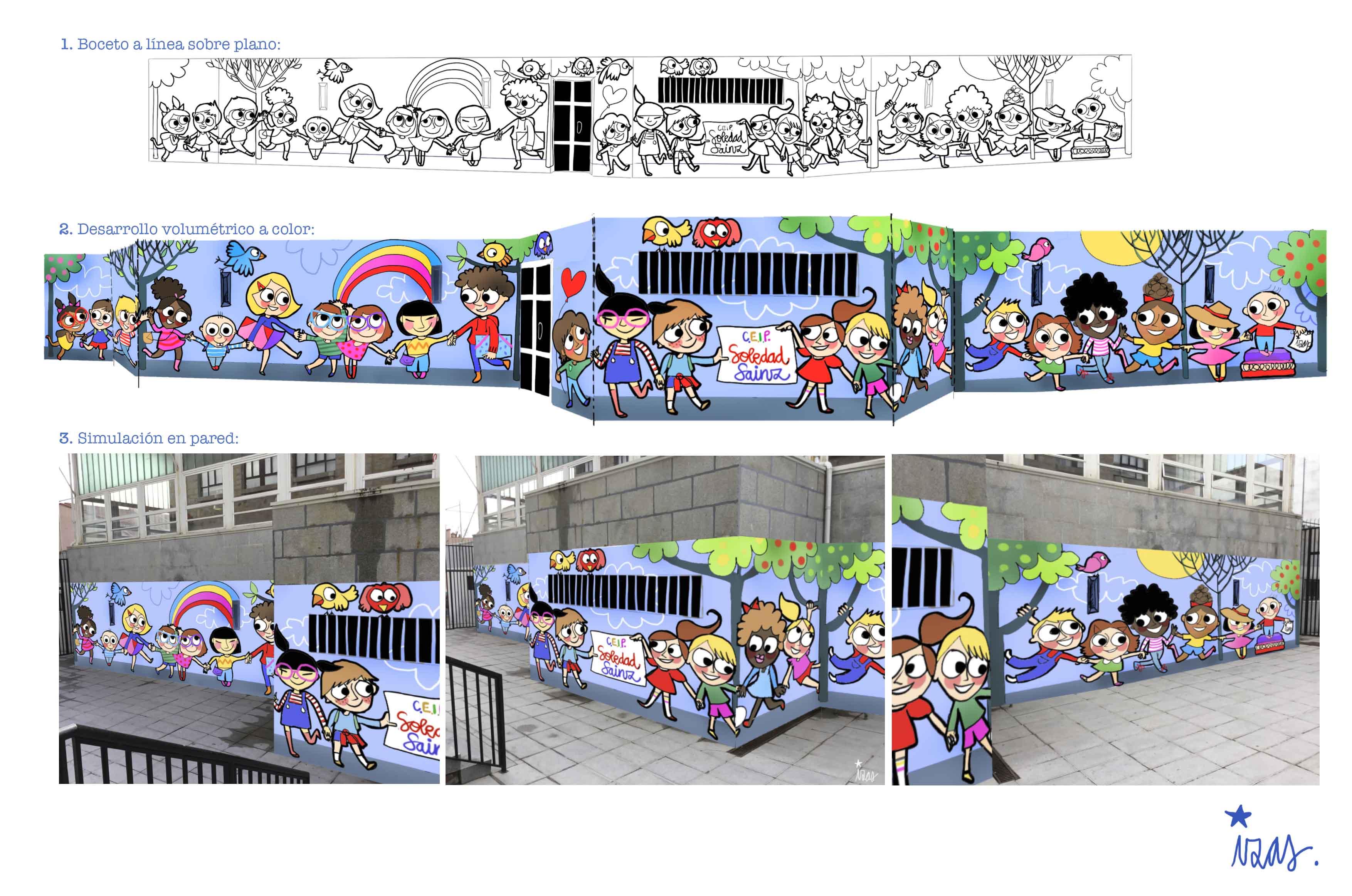 mural izas soledad sainz entrada proyecto