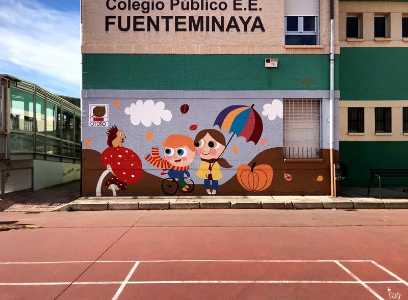 mural izas azulpatio cee fuenteminaya otoño pano