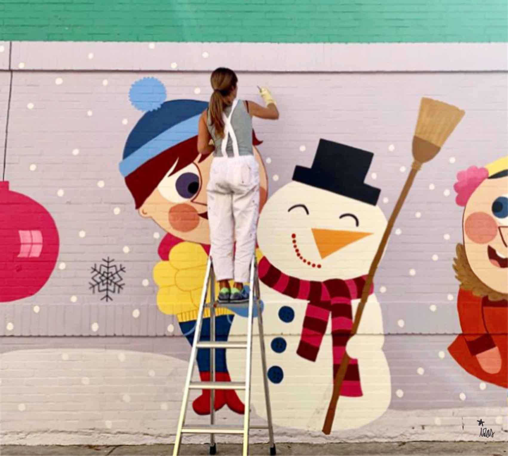mural izas azulpatio cee fuenteminaya pintando