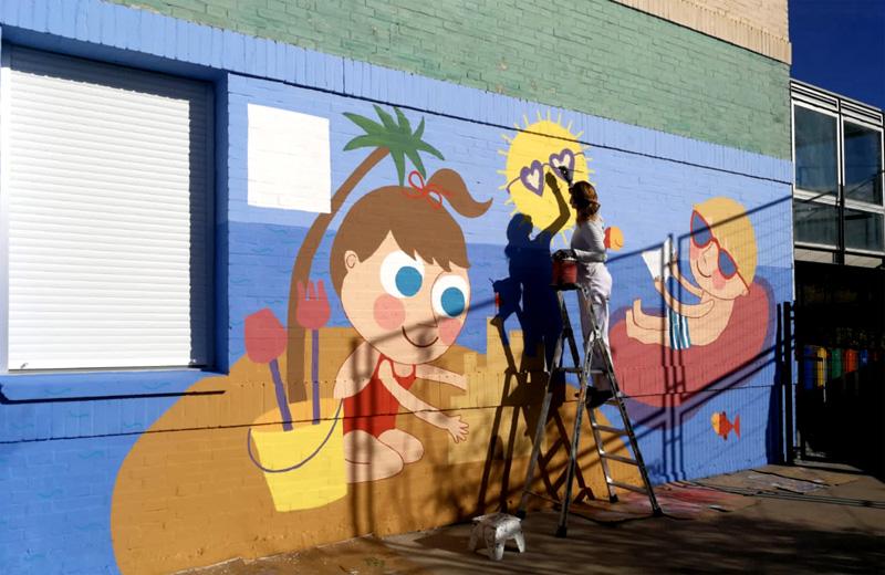 mural izas azulpatio cee fuenteminaya pintando copia