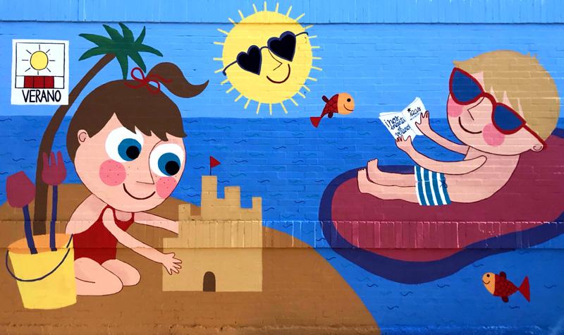 mural izas azulpatio cee fuenteminaya verano frente