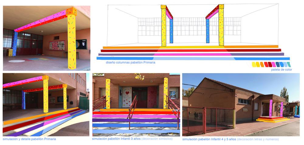 mural azulpatio izas josé bergamín proyecto columnas
