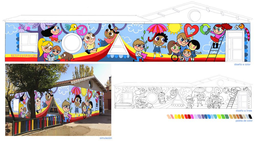 mural azulpatio izas josé bergamín proyecto valores