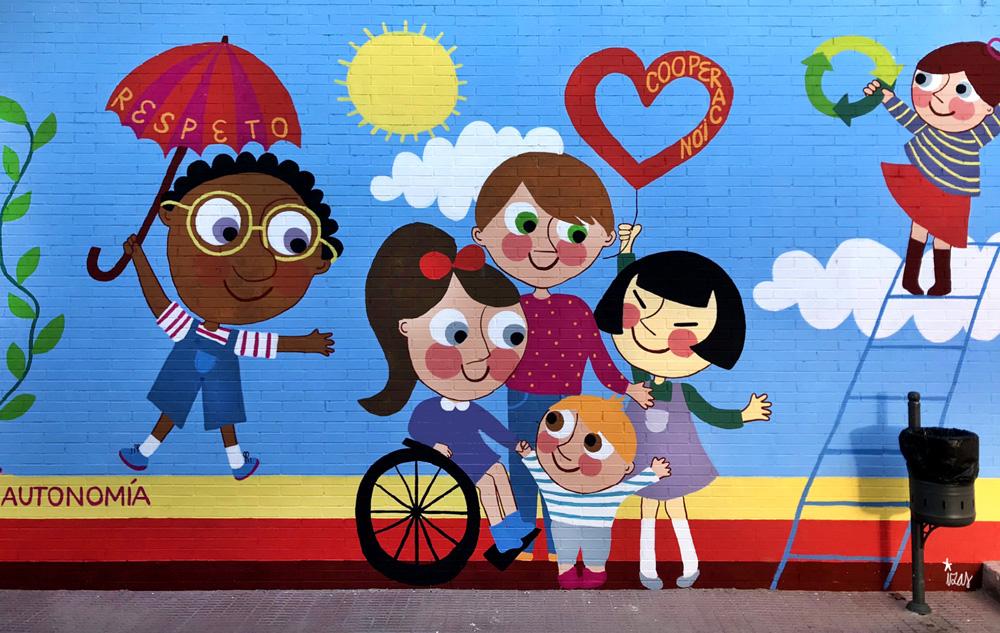 mural azulpatio izas josé bergamín valores detalle 5
