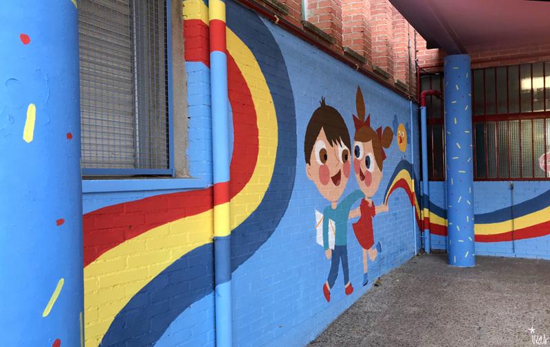 mural izas azulpatio ceip federico garcía lorca alcorcón niños 2
