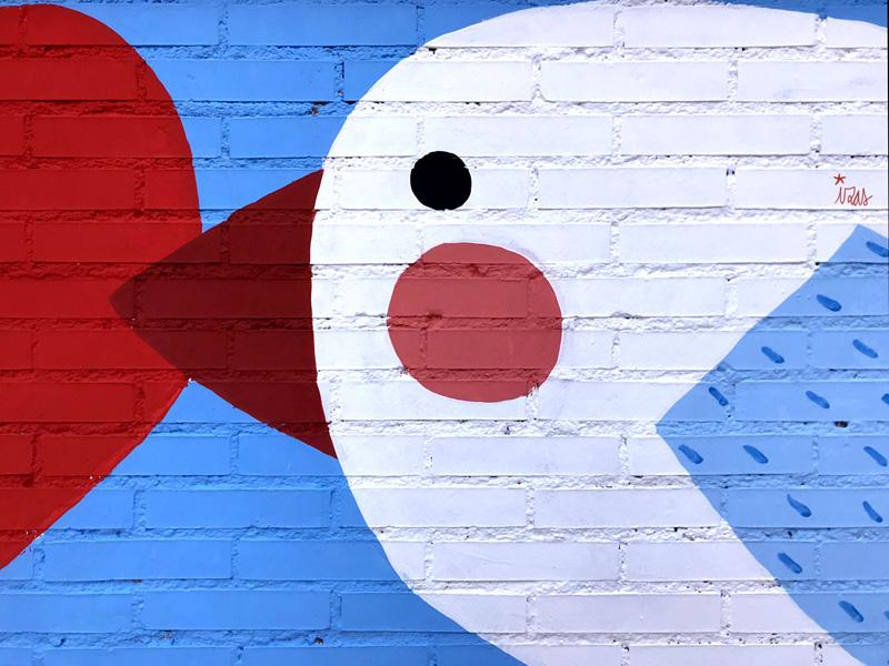 mural izas azulpatio ceip federico garcía lorca alcorcón pájaros 3