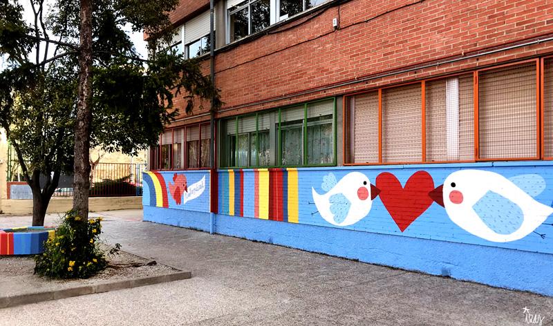 mural izas azulpatio ceip federico garcía lorca alcorcón pano 1