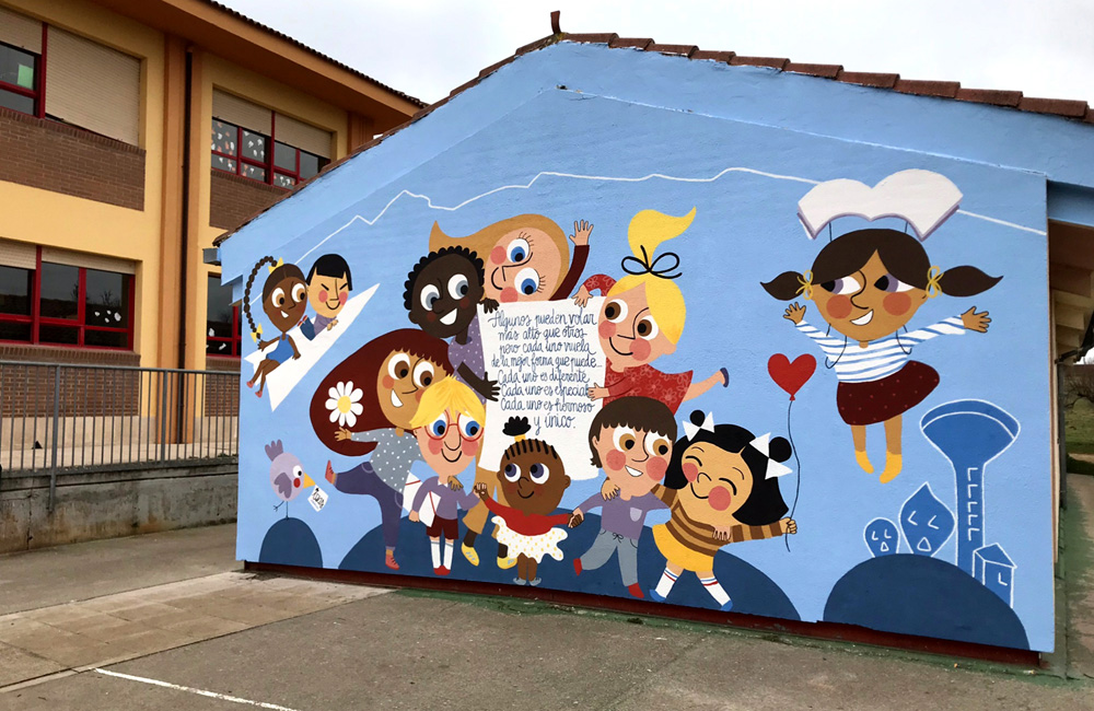 mural izas azulpatio ceip nueva segovia desde derecha