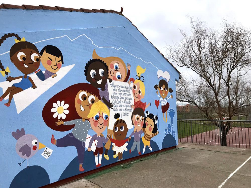 mural izas azulpatio ceip nueva segovia desde izq