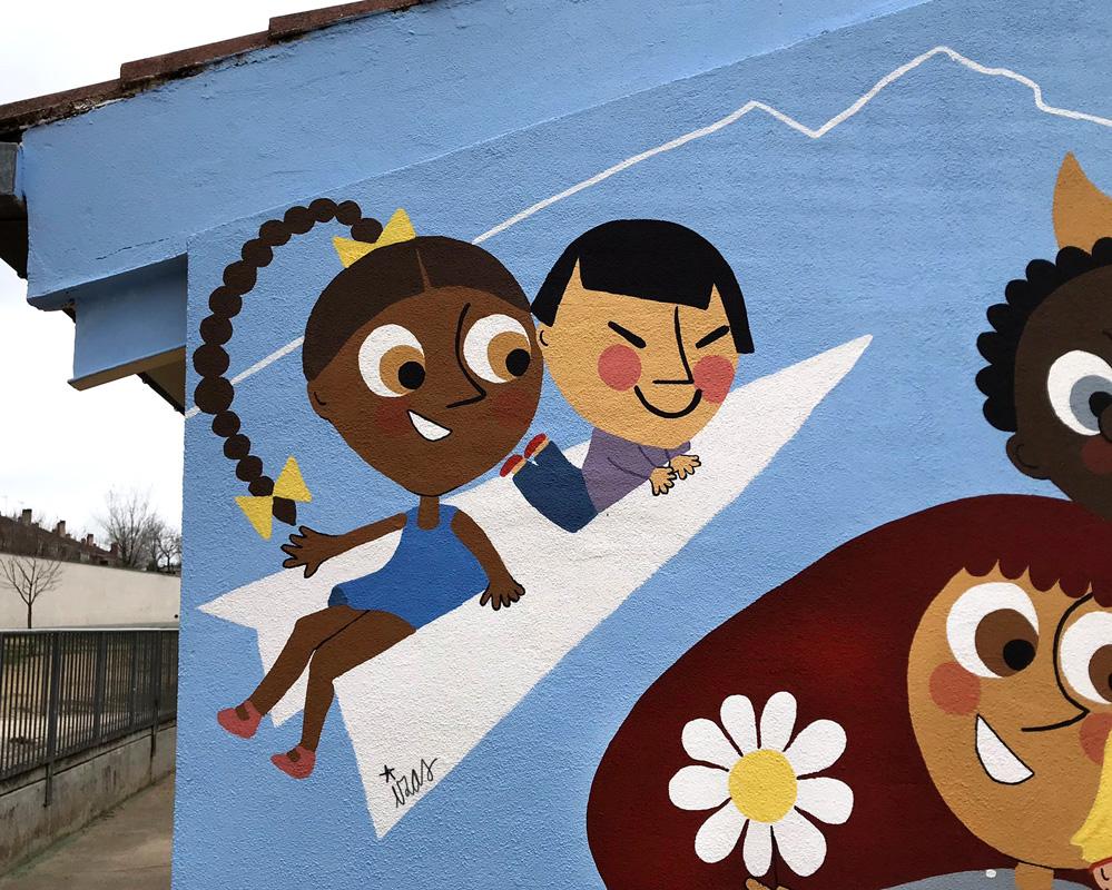 mural izas azulpatio ceip nueva segovia detalle 3