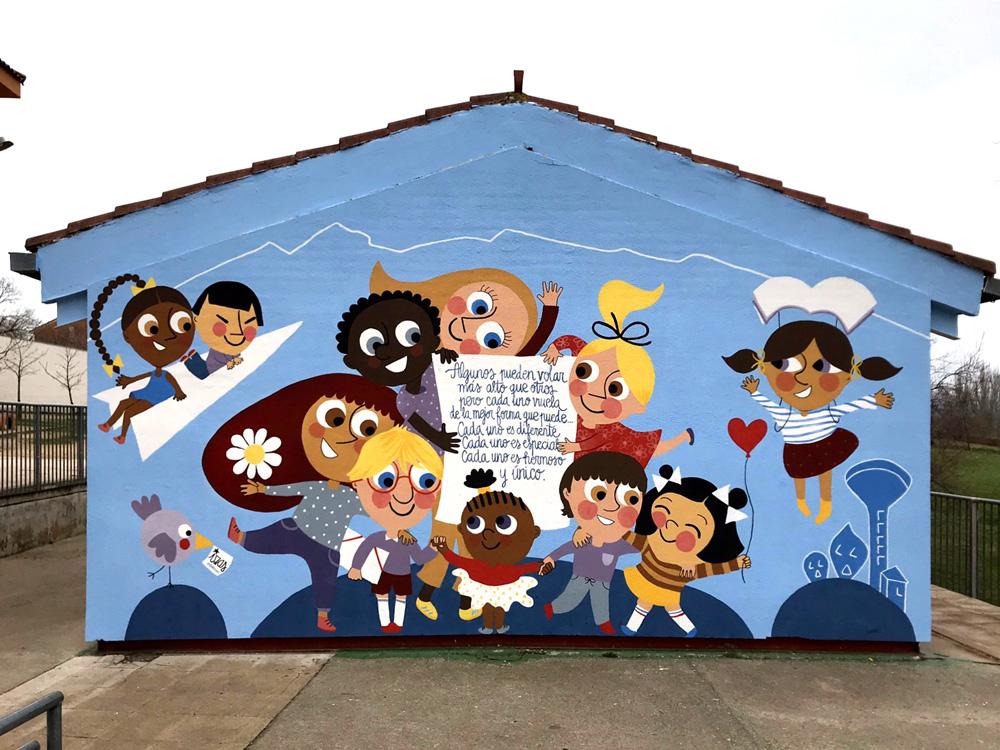 mural izas azulpatio ceip nueva segovia pano 1