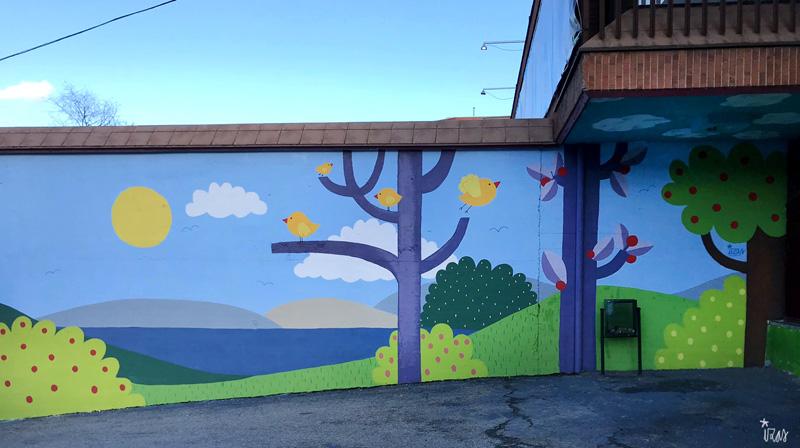 mural izas azulpatio ceip ramiro de maeztu 1