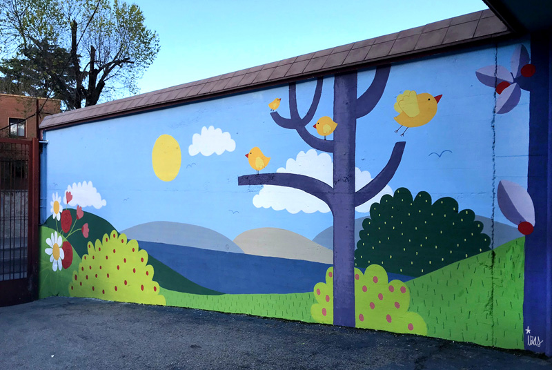 mural izas azulpatio ceip ramiro de maeztu 2