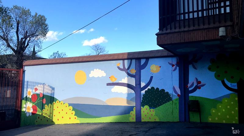 mural izas azulpatio ceip ramiro de maeztu 8
