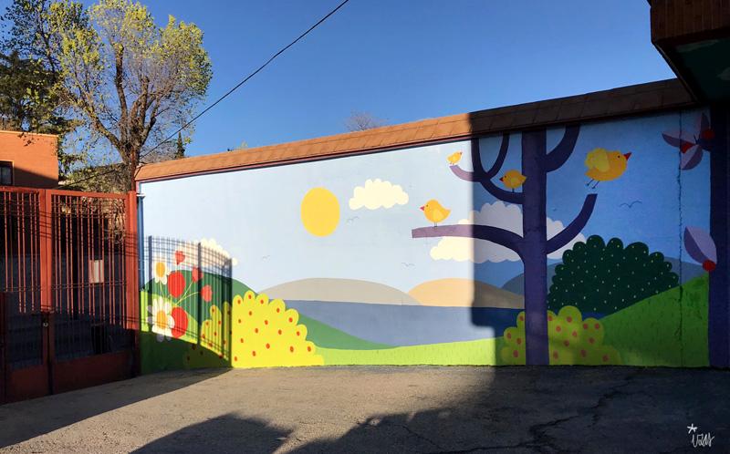 mural izas azulpatio ceip ramiro de maeztu 9