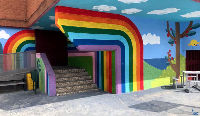 mural izas azulpatio ceip ramiro de maeztu detalle 5