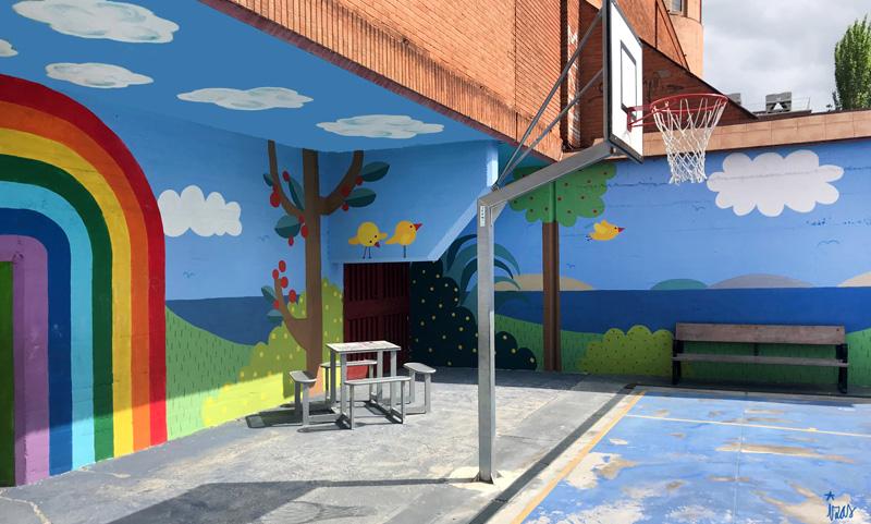 mural izas azulpatio ceip ramiro de maeztu pano 4