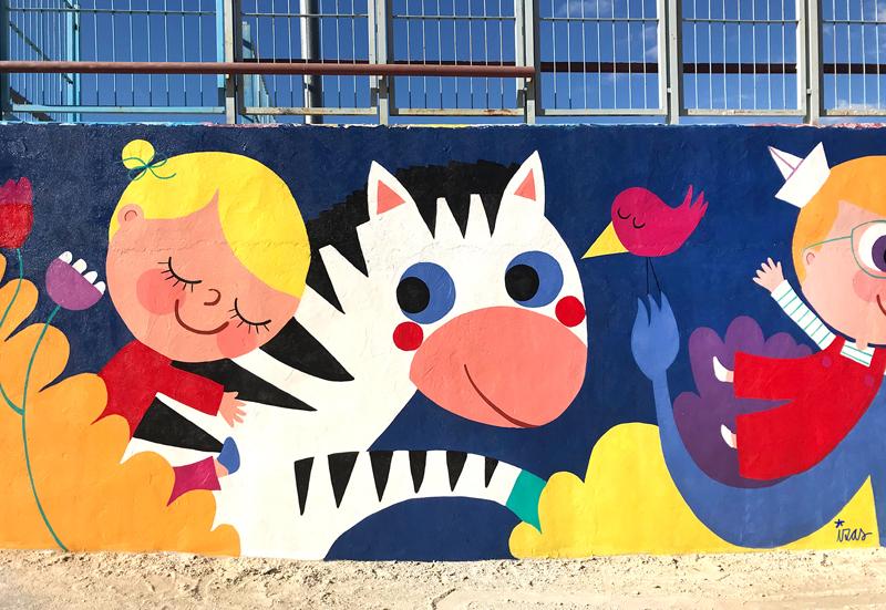 mural izas azulpatio lorca alcorcón detalle cebra 3