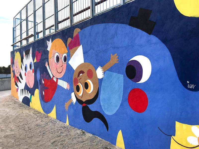 mural izas azulpatio lorca alcorcón detalle elefante 1