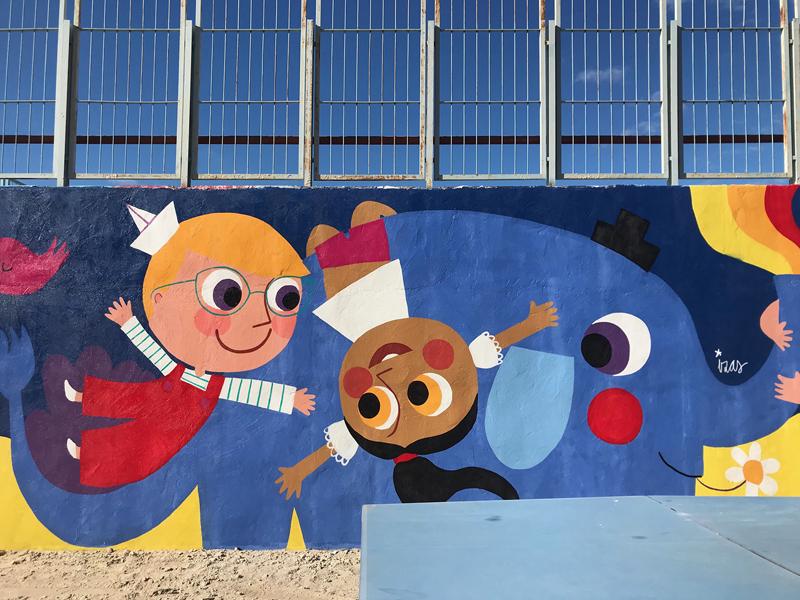 mural izas azulpatio lorca alcorcón detalle elefante 4