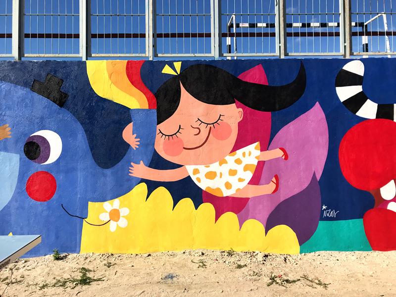 mural izas azulpatio lorca alcorcón detalle elefante 6