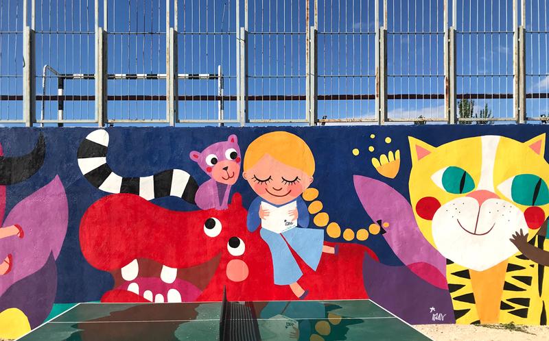 mural izas azulpatio lorca alcorcón detalle hipopótamo 4