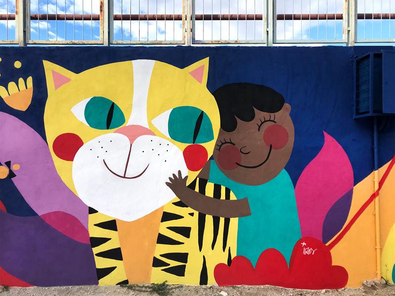 mural izas azulpatio lorca alcorcón detalle tigre 1