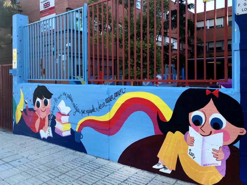 mural izas azulpatio lorca alcorcón entrada dcha