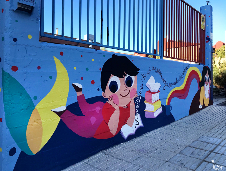 mural izas azulpatio lorca alcorcón entrada izq