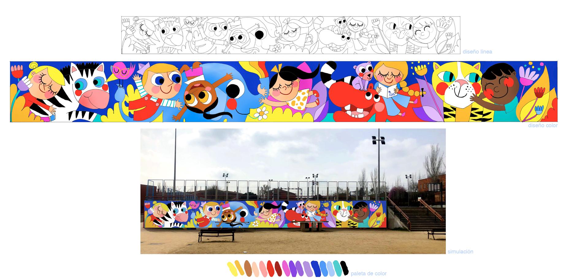 mural izas azulpatio lorca alcorcón proyecto