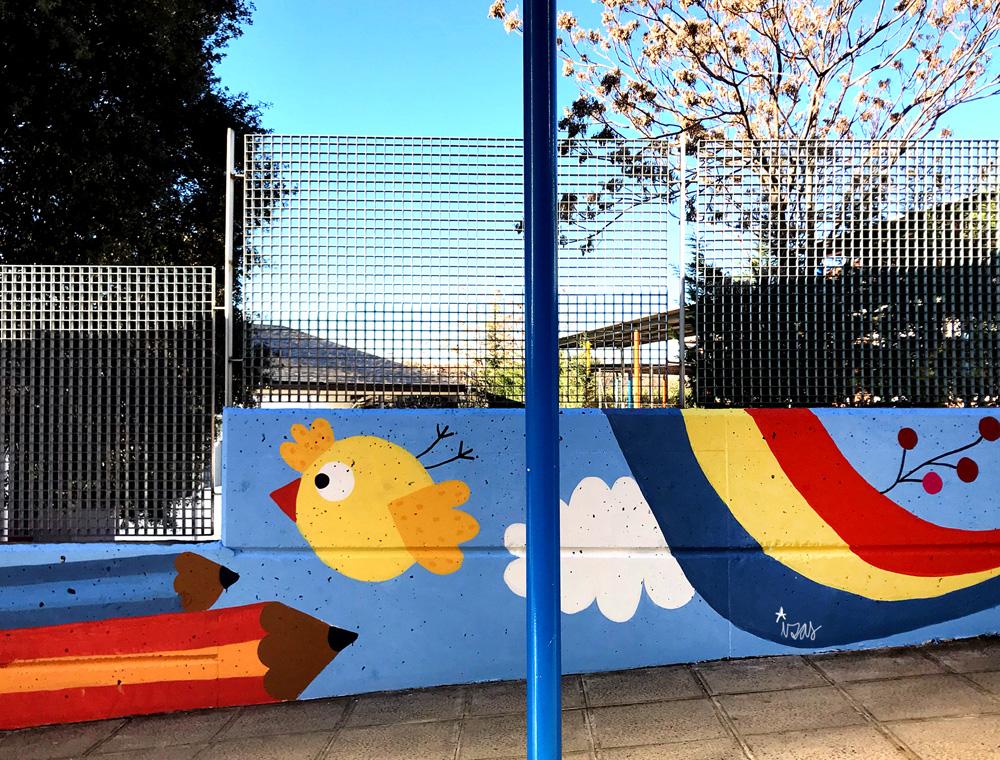 mural izas azulpatio miguel delibes entrada infantil detalle 1