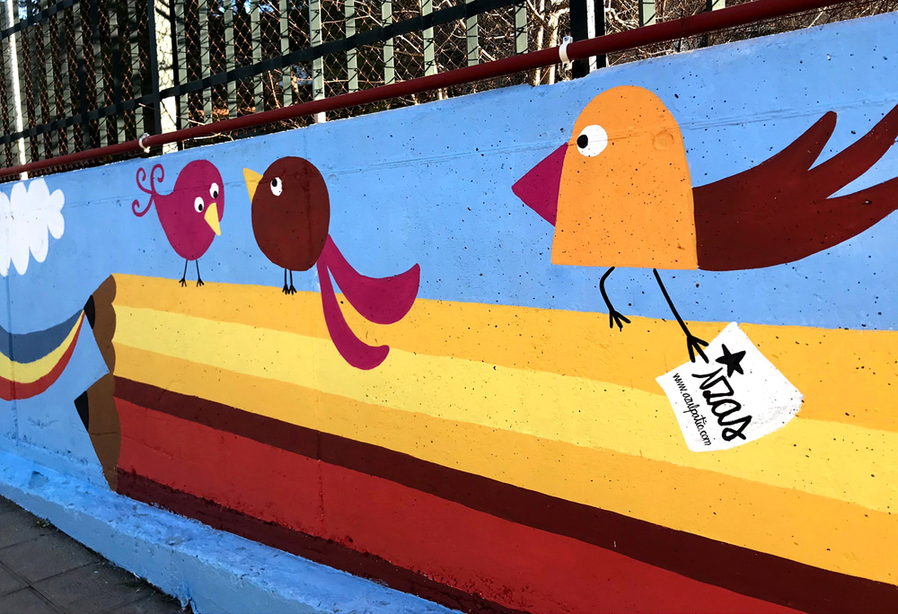 mural izas azulpatio miguel delibes entrada infantil detalle 5