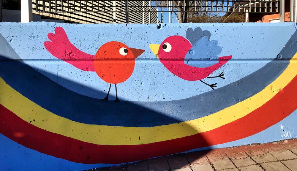 mural izas azulpatio miguel delibes entrada infantil detalle 6