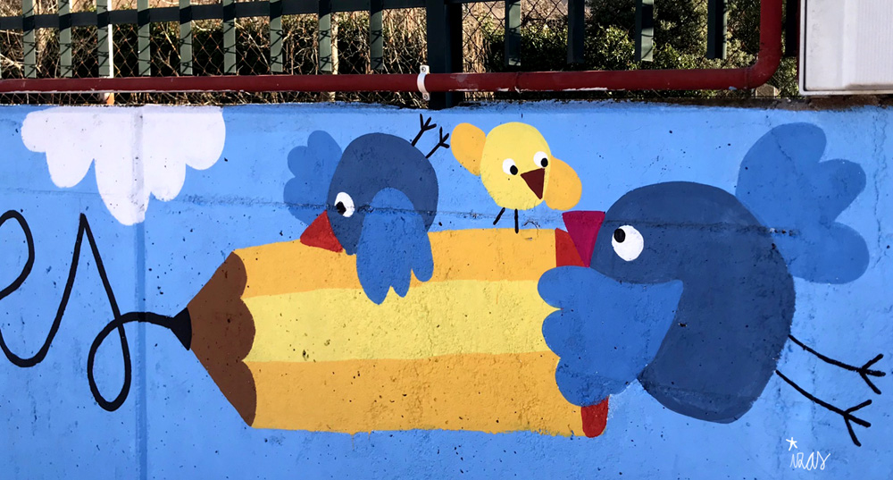 mural izas azulpatio miguel delibes entrada infantil detalle 7