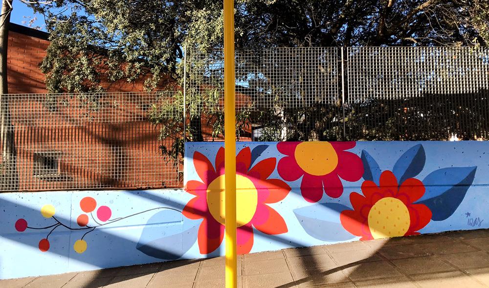 mural izas azulpatio miguel delibes entrada infantil detalle 8