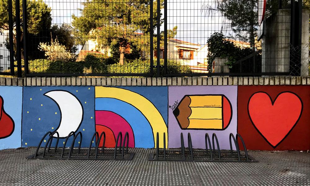 mural izas azulpatio miguel delibes entrada primaria detalle 2
