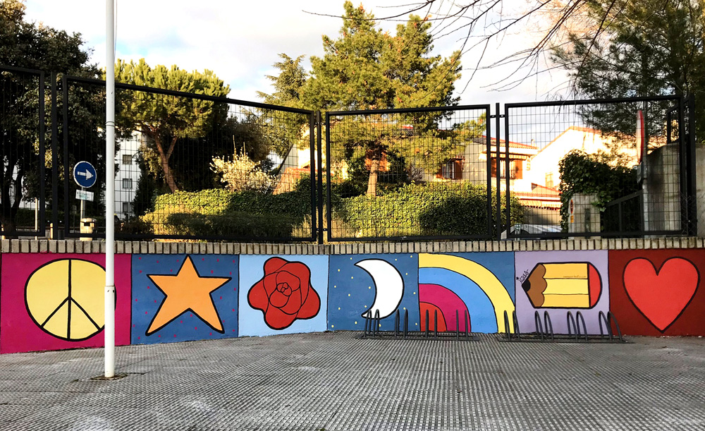 mural izas azulpatio miguel delibes entrada primaria pano 8