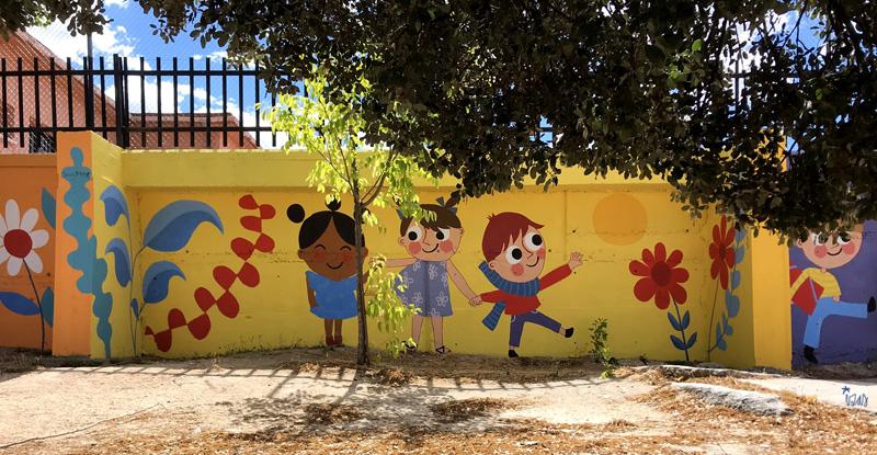mural izas azulpatio miguel delibes primaria detalle 10
