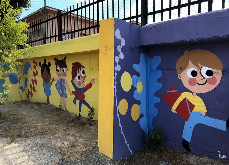 mural izas azulpatio miguel delibes primaria detalle 13