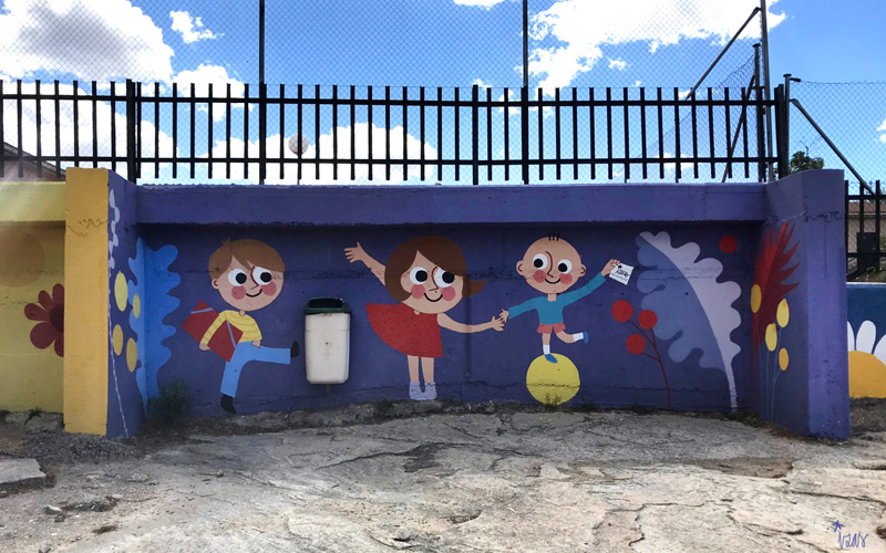mural izas azulpatio miguel delibes primaria detalle 20