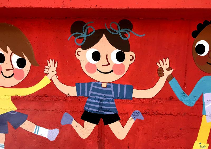 mural izas azulpatio miguel delibes primaria detalle 23