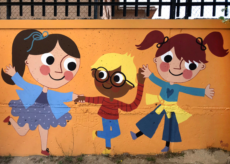 mural izas azulpatio miguel delibes primaria detalle 26