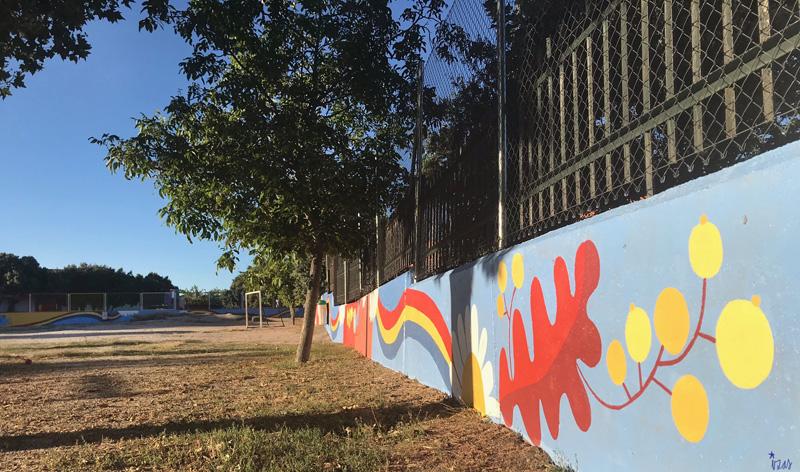 mural izas azulpatio miguel delibes primaria detalle 4